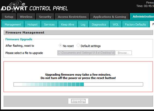 DD-WRT firmware upgrade